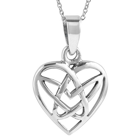 Journee Collection Celtic Knot Heart Necklace in Sterling Silver - Silver - image 1 of 2