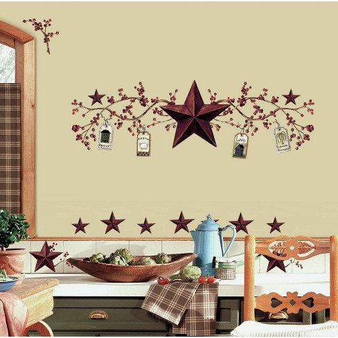 Country Stars and Berries Peel and Stick Wall Decal - RoomMates - image 1 of 4