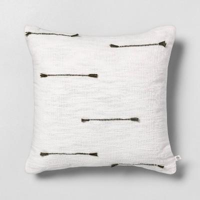 "18"" x 18"" Texture Dash Throw Pillow Dark Green / Sour Cream - Hearth & Hand™ with Magnolia"
