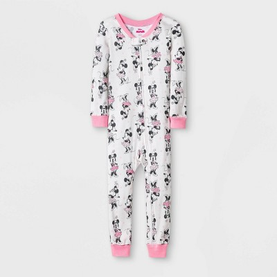 Toddler Girls' Minnie Mouse Union Suit - White