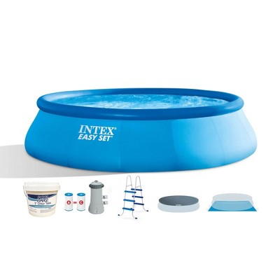 Intex 26165EH 15ft x 42in Above Ground Inflatable Swimming Pool Bundle with Pump, Ladder, Cover, and 25 Pound Bucket of Chlorine Tablets