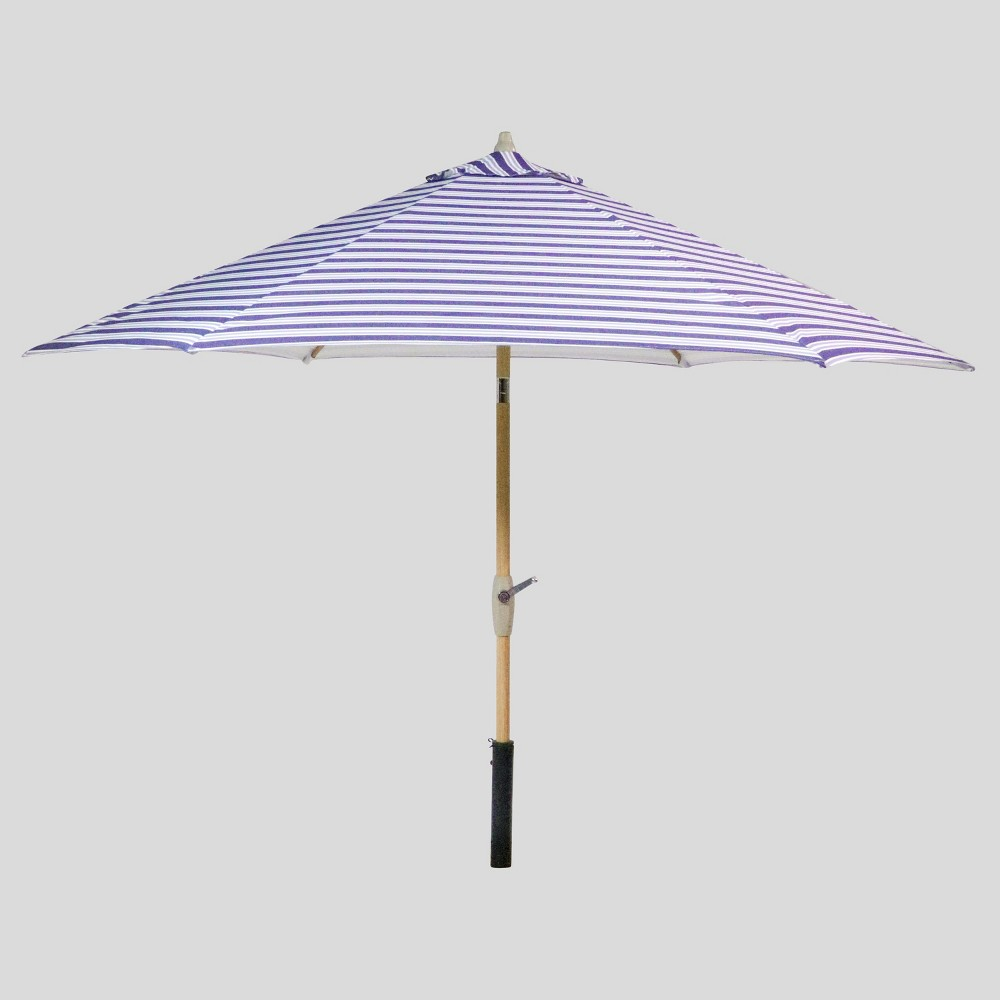 9' Round Coastal Stripe Patio Umbrella Blue - Light Wood Pole - Threshold