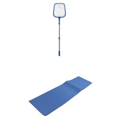 Swimline Swimming Pool Skimmer Net & Swimline Vinyl Protective Pool Ladder Mat