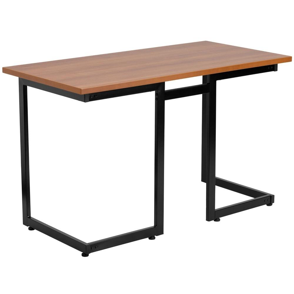 Image of Cherry Computer Desk with Black Frame - Flash Furniture