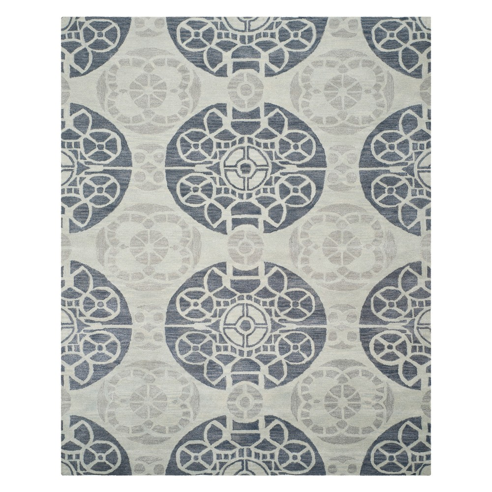 Medallion Tufted Area Rug Silver/Blue