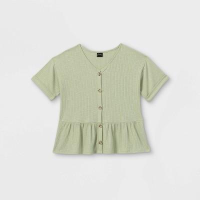 Girls' Button-Front Peplum Short Sleeve Top - art class™