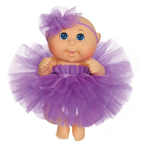 "Cabbage Patch Kids Tiny Newborn Baby Doll - Purple Tutu - Blue Eyes 9"" - image 1 of 3"
