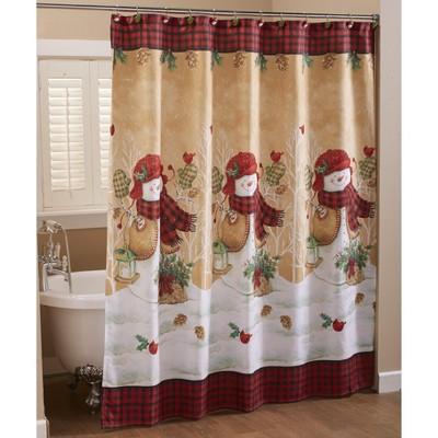 Lakeside Decorative Bathroom Shower Curtain – Country Christmas Snowmen