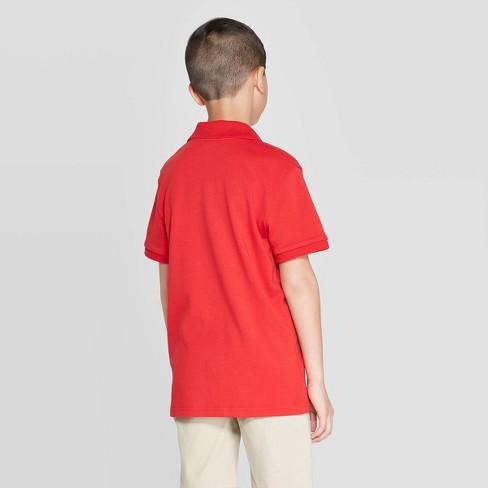 ab9bef345 Boys' Short Sleeve Interlock Uniform Polo Shirt - Cat & Jack™ Red L ...