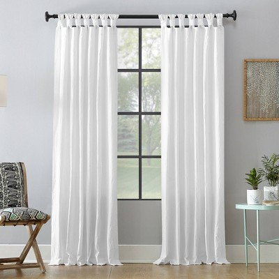 "95""x52"" Washed Cotton Twist Tab Light Filtering Curtain Panel White - Archaeo"
