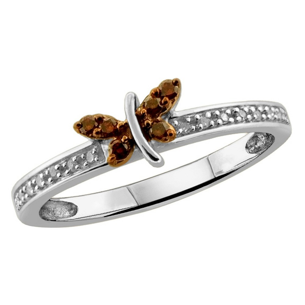 Image of 1/10 CT.T .W. Round-Cut Red and White Diamond Prong Set Butterfly Ring - White (6), Women's