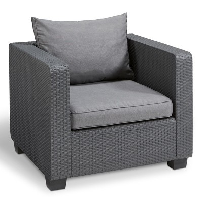 Salta Outdoor Resin Patio Armchair with Cushions Graphite - Keter