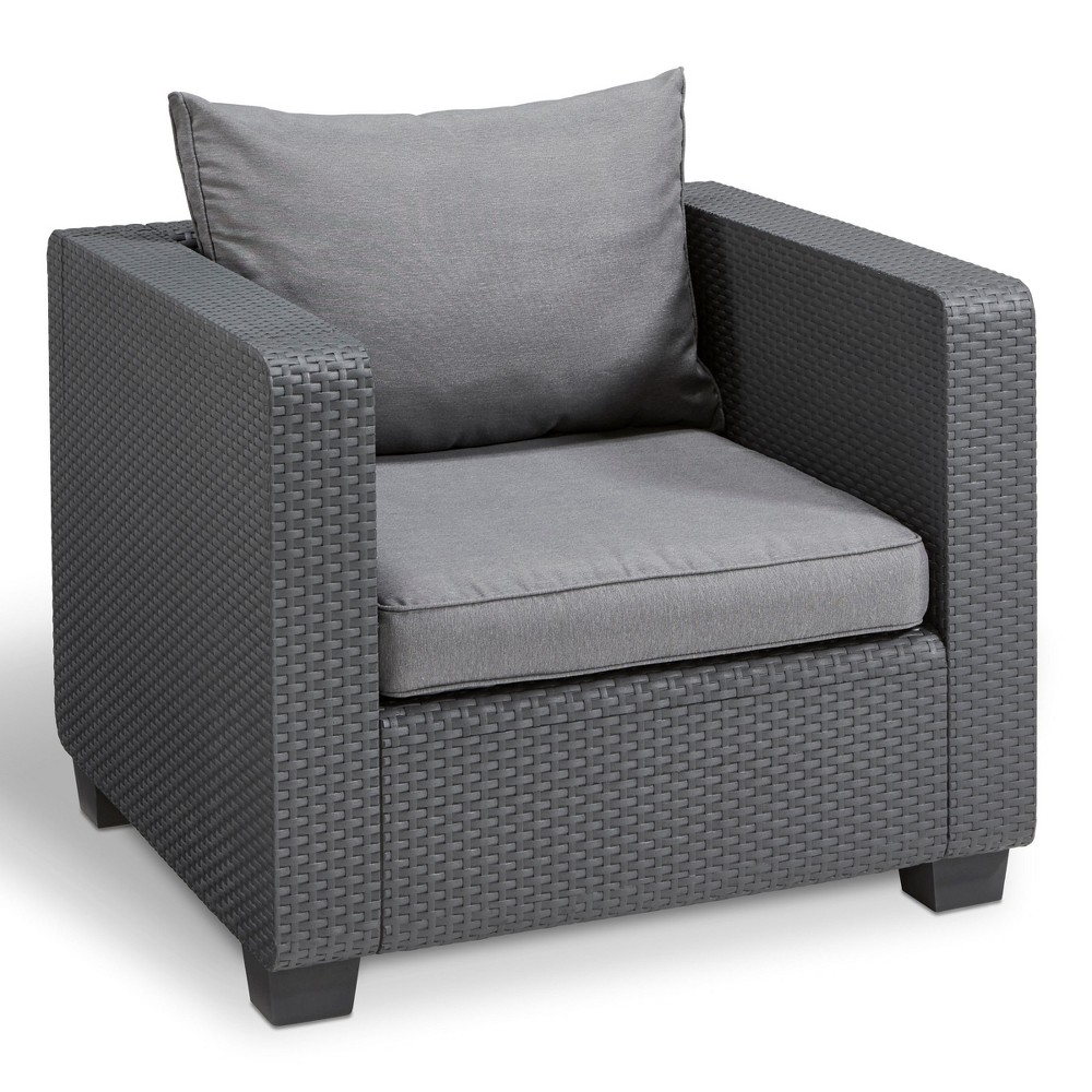 Image of Salta Outdoor Resin Patio Armchair with Cushions Graphite - Keter, Grey