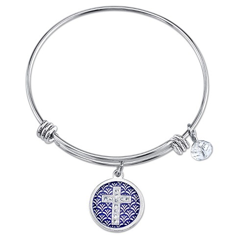 "Women's Stainless Steel Faith Cross Enamel Crystal Bead Expandable Bangle - Silver (8"") - image 1 of 2"