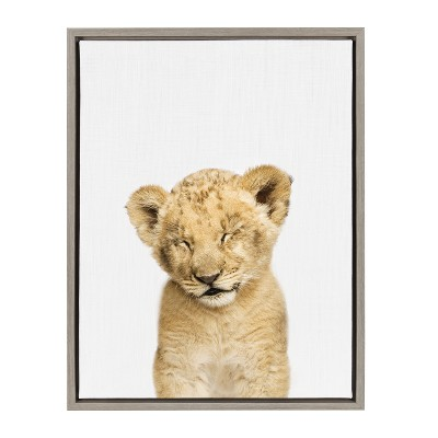 Kate & Laurel 24 x18  Sylvie Sleepy Baby Lion Animal Print Portrait By Amy Peterson Framed Wall Canvas Gray