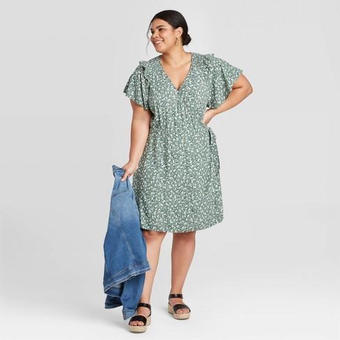 Women's Plus Size Floral Print Short Sleeve Ruffle Wrap Dress - Universal Thread™ Green - image 1 of 3