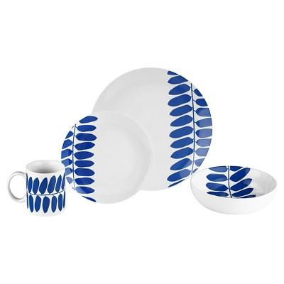 Bzyoo® Coppa 16pc Dinnerware Set Blue Leaf