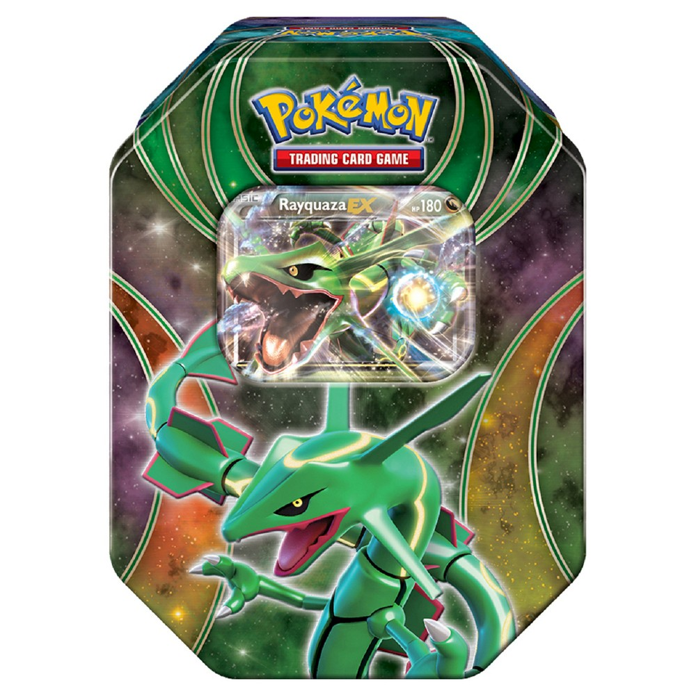 2016 Pokemon Trading Cards Best of EX Tins featuring Rayquaza Board Game Pokemon-EX: Beyond the Ordinary! At last, three great Pokemon-EX from the highest heights and strange new worlds! Choose the sky-high swiftness of Rayquaza-EX in the Pokemon Trading Card Game: Powers Beyond Tin! This rugged tins contains a Legendary or Mythical Pokemon-EX for your collection-so make friends with one of these powerful Pokemon today! Gender: Unisex.