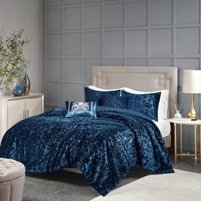 5pc King Edith Faux Velvet Comforter Set - Teal