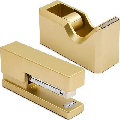 Paper Junkie 2 Piece Gold Desktop Tape Dispenser and Stapler Set