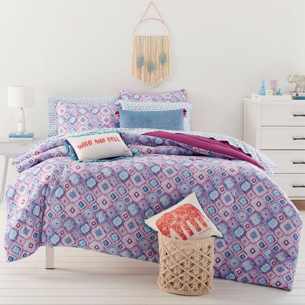 Image of Full/Queen Leah Comforter Set Bright Purple - Ivory Ella