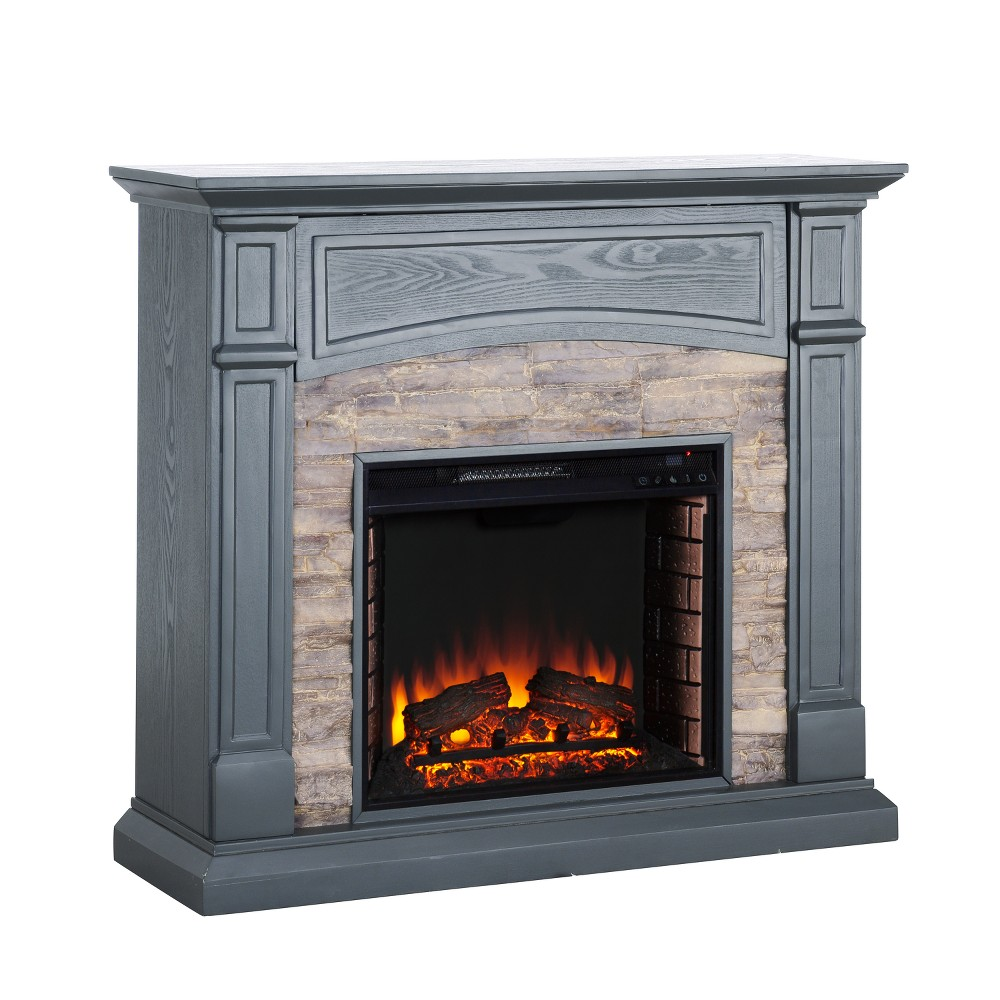 Salski Electric Media Fireplace Gray With Weathered Stone - Aiden Lane