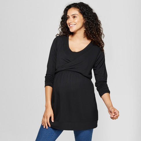 d60f35c50ed Maternity Long Sleeve Double Layer Nursing Top - Isabel Maternity By Ingrid    Isabel™ Black   Target