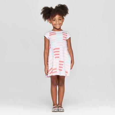 Toddler Girls' Striped Dress - Cat & Jack™ White