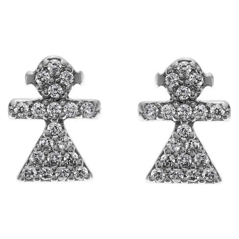 3/8 CT. T.W. Round-cut CZ Girl Stud Pave Set Earrings in Base Metal - Silver - image 1 of 2