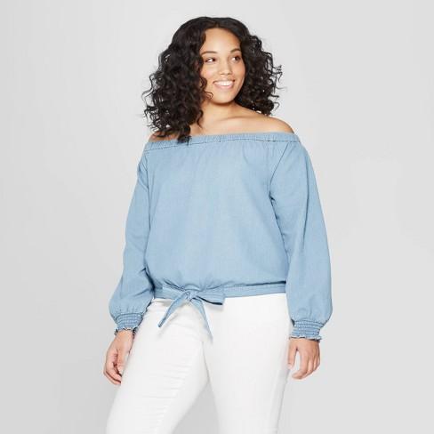 Women's Plus Size Long Sleeve Off-Shoulder Denim Top - Universal Thread™ Medium Blue X - image 1 of 3