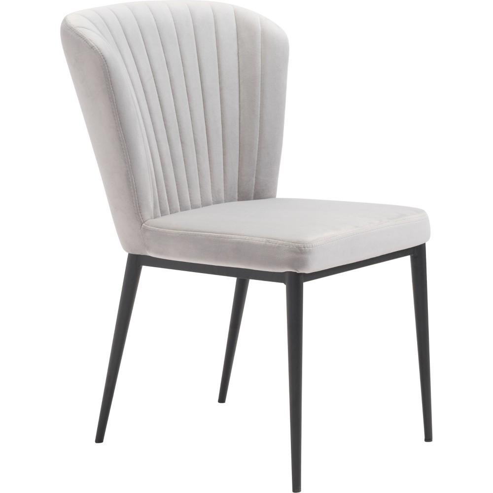 Art Deco Set of 2 Velvet Dining Chairs Gray - ZM Home