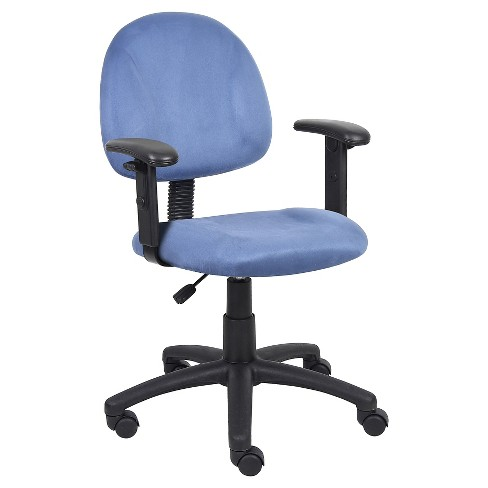 Microfiber Deluxe Posture Chair with Adjustable Arms Blue - Boss Office Products - image 1 of 4