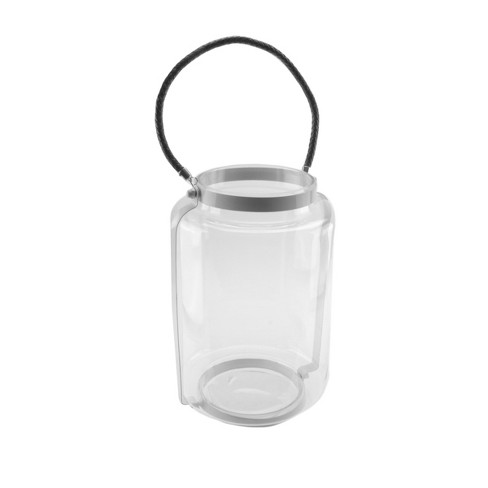 """Northlight 18"""" Hurricane Pillar Glass Candle Lantern with White Metal Frame - image 1 of 2"""