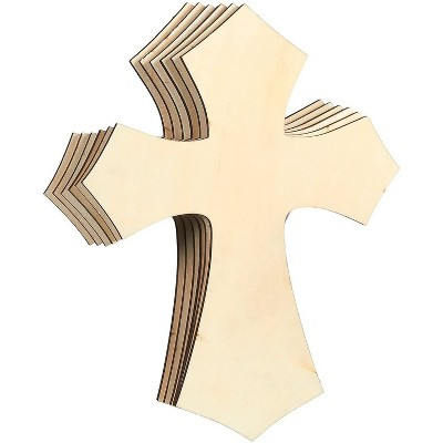 6-Pack Unfinished Wood Cutout Cross Shaped for Craft DIY, Sunday School, Church