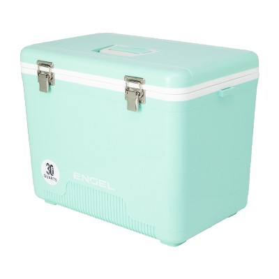 Engel UC30SF 30 Quart 8 Can Leak Proof Odor Resistant Insulated Cooler Drybox with Integrated Shoulder Strap, Seafoam