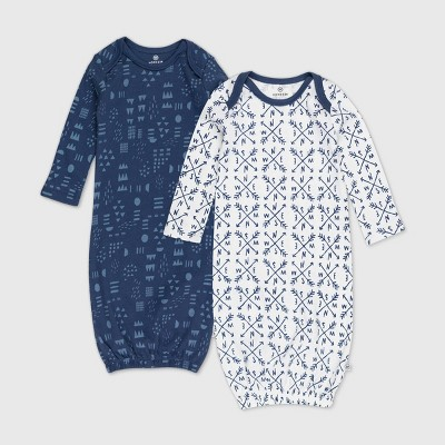 Honest Baby Baby Boys' 2pk Organic Cotton Compass Nightgown - 0-6M
