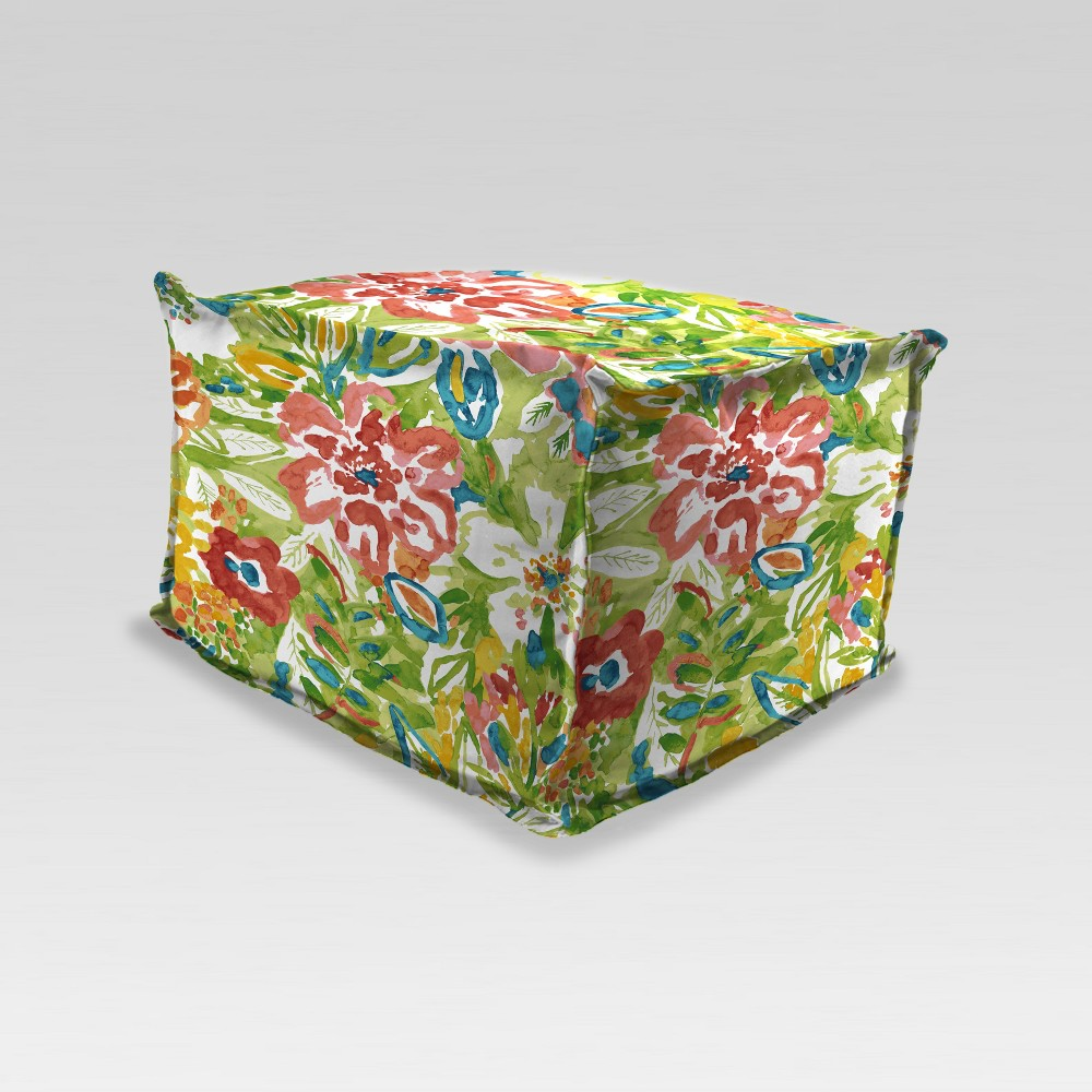 Outdoor Boxed Edge Pouf/Ottoman - Green Floral - Jordan Manufacturing
