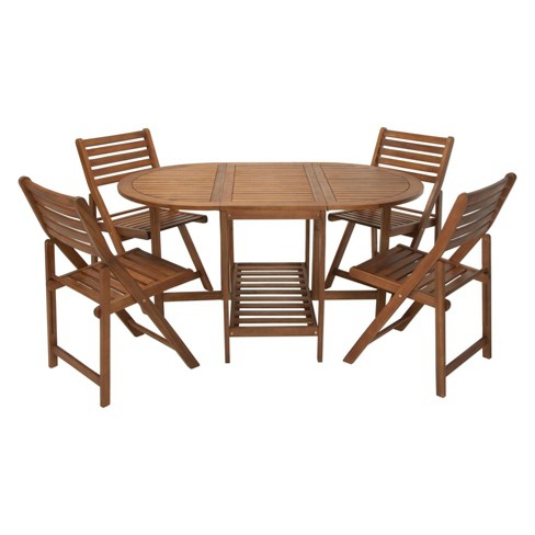 Acacia Wood 5pc Patio Table And Chair Set Brown Cosco Outdoor