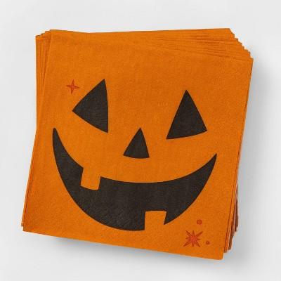 30ct Orange/Black Disposable Pumpkin Face Halloween Beverage Napkins - Hyde & EEK! Boutique™