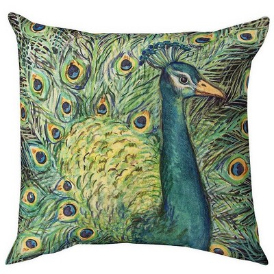 Colorful Square Peacock Throw Pillow