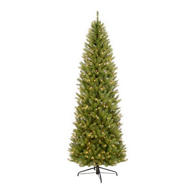 6.5ft Pre-lit Pencil Artificial Christmas Tree Forest Fir - Puleo