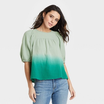 Women's Dip-Dye Puff Short Sleeve Gauze Blouse - Universal Thread™