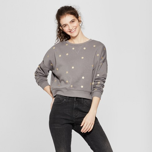 Women's Gold Star Print Pullover Sweatshirt - Fifth Sun (Juniors') Charcoal - image 1 of 4