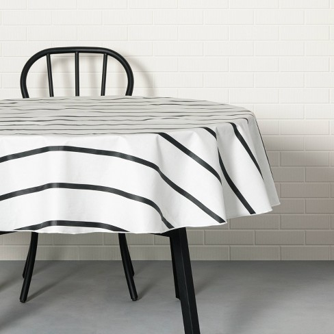 Striped Oil Canvas Tablecloth Black/White - Hearth & Hand™ with Magnolia - image 1 of 3
