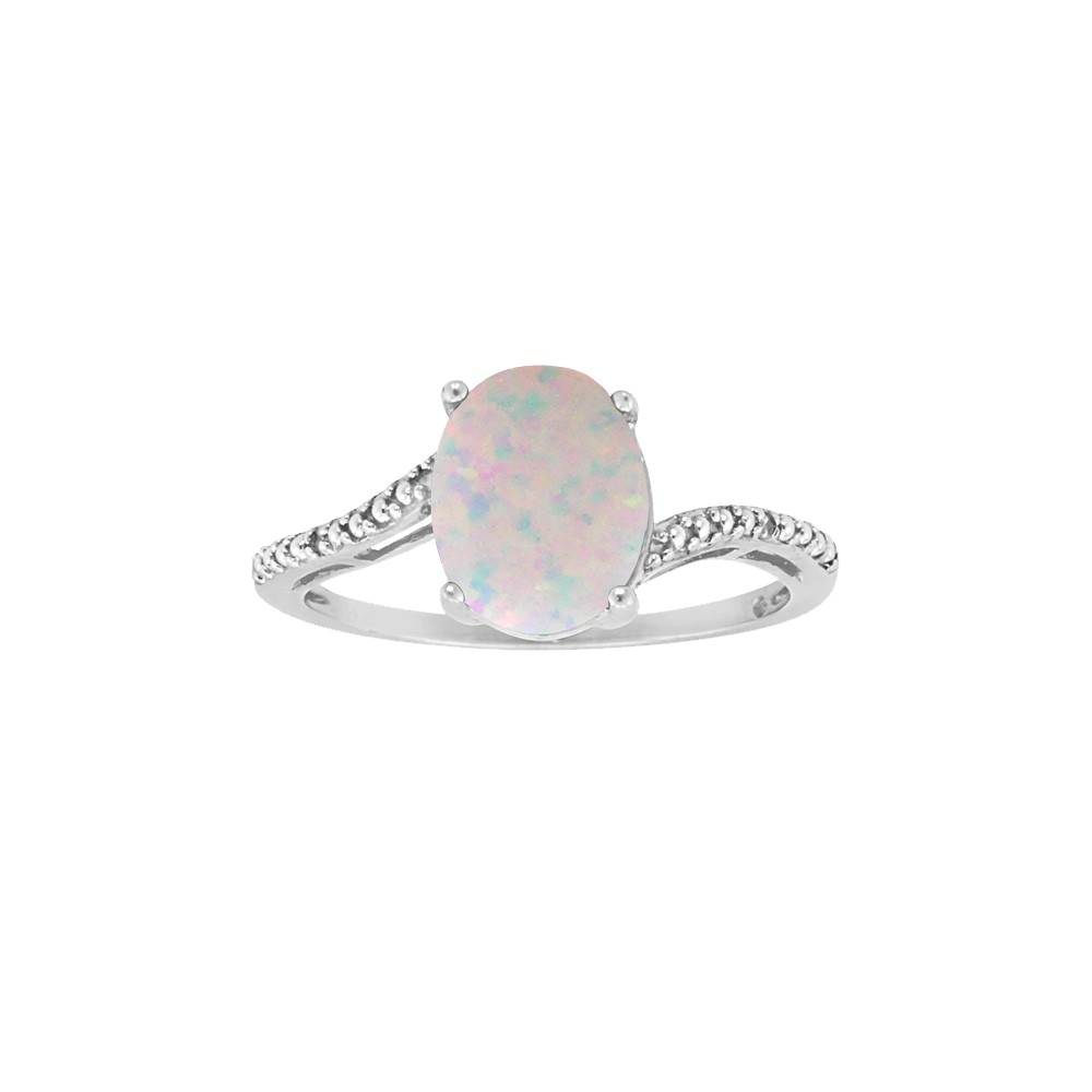 Sterling Silver 8X6Mm Oval Created Opal Ring - White (5)