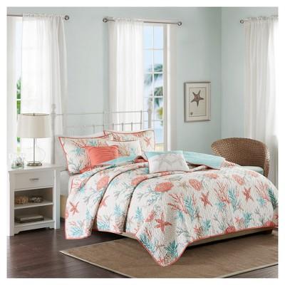 Coral Ocean View Printed Quilt Set 6pc