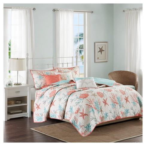 Coral Ocean View Printed Quilt Set King California King 6pc Target