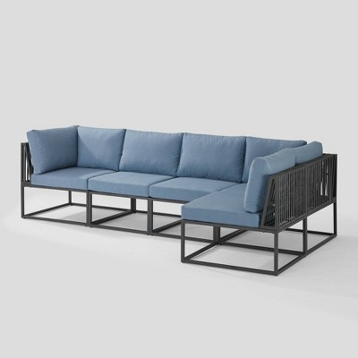 5pc Outdoor Cord Modular Sectional - Blue - Saracina Home