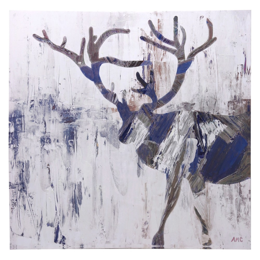 48 Contemporary Acrylic Moose Print Hand Painted In High Gloss Stretched Canvas Decorative Wall Art - StyleCraft, Multi-Colored