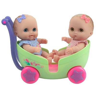 "JC Toys Lil' Cutesies Twins 8.5"" All Vinyl Baby Doll with Stroller"